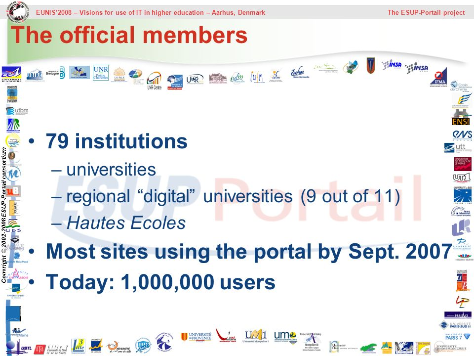 EUNIS2008 – Visions for use of IT in higher education – Aarhus, Denmark The ESUP-Portail project Copyright © 2002-2008 ESUP-Portail consortium The official members 79 institutions –universities –regional digital universities (9 out of 11) –Hautes Ecoles Most sites using the portal by Sept.