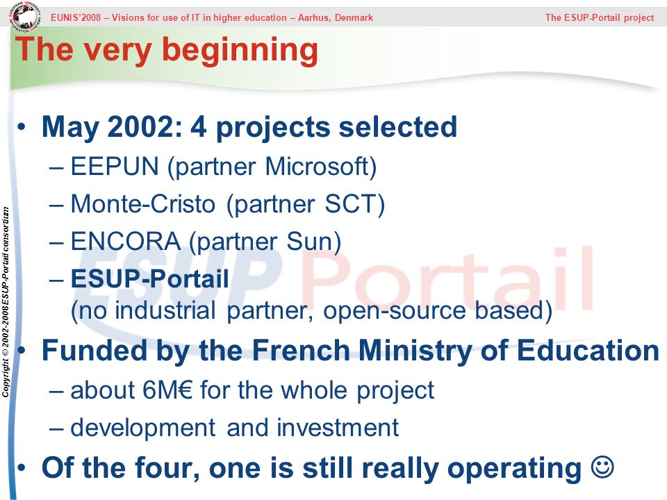 EUNIS2008 – Visions for use of IT in higher education – Aarhus, Denmark The ESUP-Portail project Copyright © 2002-2008 ESUP-Portail consortium The ver