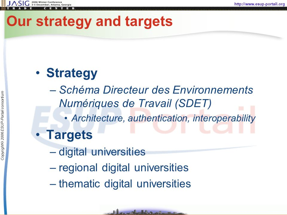 http://www.esup-portail.org Copyright © 2006 ESUP-Portail consortium Our strategy and targets Strategy –Schéma Directeur des Environnements Numériques de Travail (SDET) Architecture, authentication, interoperability Targets –digital universities –regional digital universities –thematic digital universities