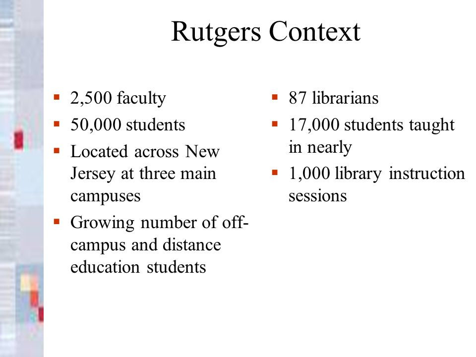 Rutgers Context 2,500 faculty 50,000 students Located across New Jersey at three main campuses Growing number of off- campus and distance education st