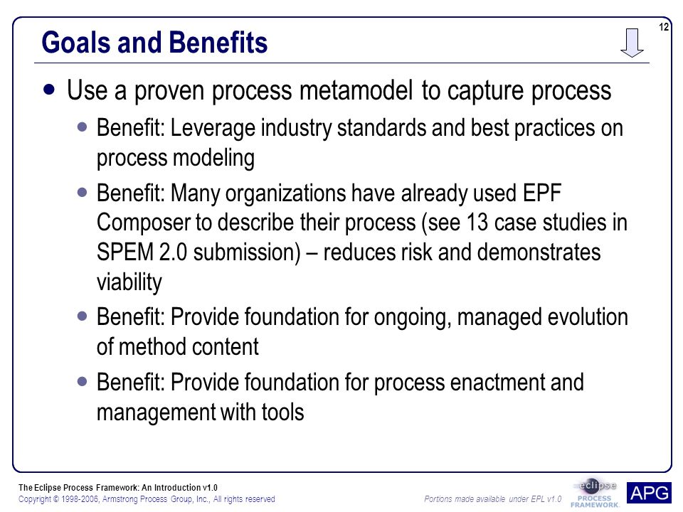 The Eclipse Process Framework: An Introduction v1.0 Copyright © , Armstrong Process Group, Inc., All rights reserved Portions made available under EPL v Goals and Benefits Use a proven process metamodel to capture process Benefit: Leverage industry standards and best practices on process modeling Benefit: Many organizations have already used EPF Composer to describe their process (see 13 case studies in SPEM 2.0 submission) – reduces risk and demonstrates viability Benefit: Provide foundation for ongoing, managed evolution of method content Benefit: Provide foundation for process enactment and management with tools