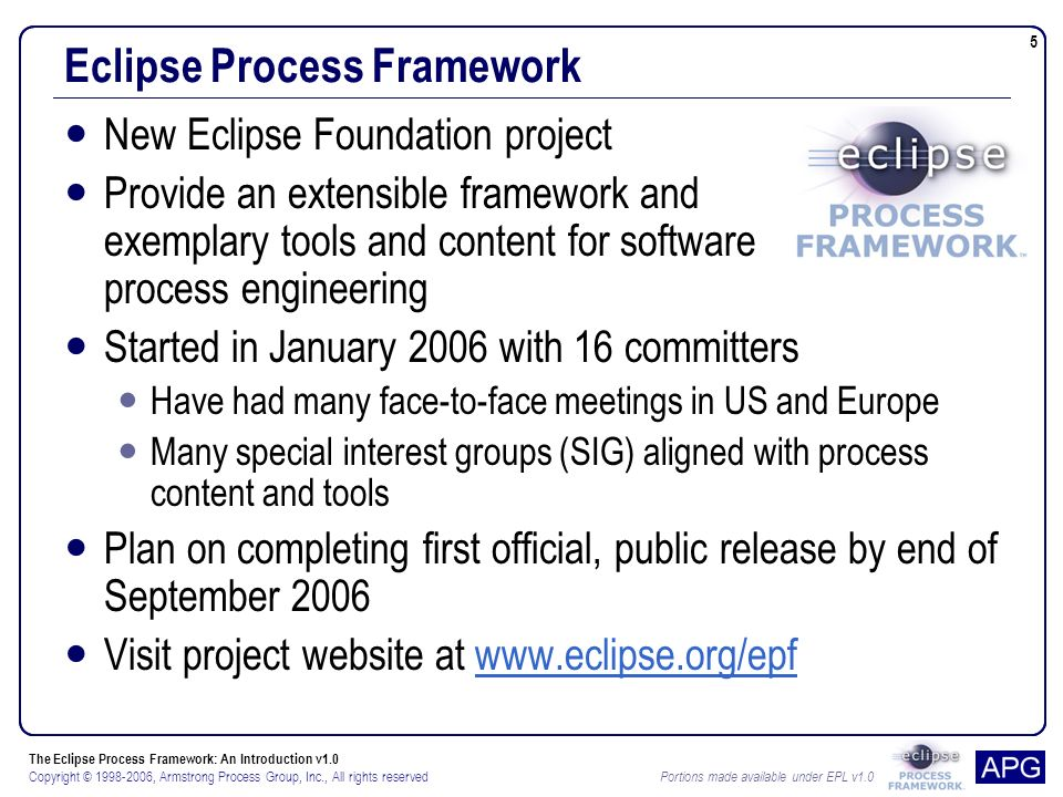 The Eclipse Process Framework: An Introduction v1.0 Copyright © 1998-2006, Armstrong Process Group, Inc., All rights reserved Portions made available under EPL v1.0 5 Eclipse Process Framework New Eclipse Foundation project Provide an extensible framework and exemplary tools and content for software process engineering Started in January 2006 with 16 committers Have had many face-to-face meetings in US and Europe Many special interest groups (SIG) aligned with process content and tools Plan on completing first official, public release by end of September 2006 Visit project website at www.eclipse.org/epfwww.eclipse.org/epf