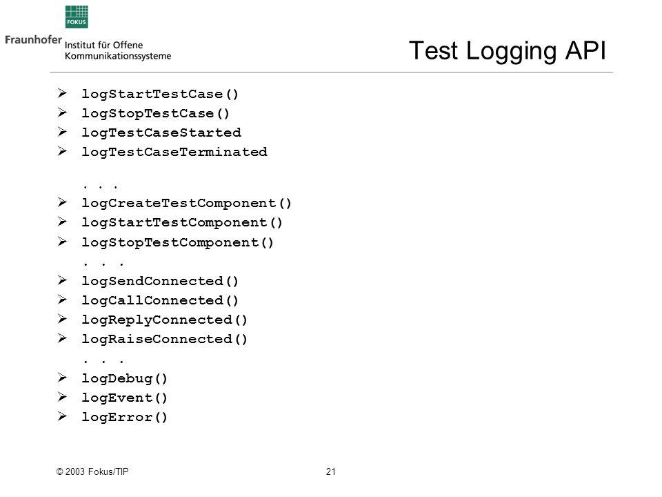© 2003 Fokus/TIP 21 Test Logging API logStartTestCase() logStopTestCase() logTestCaseStarted logTestCaseTerminated...