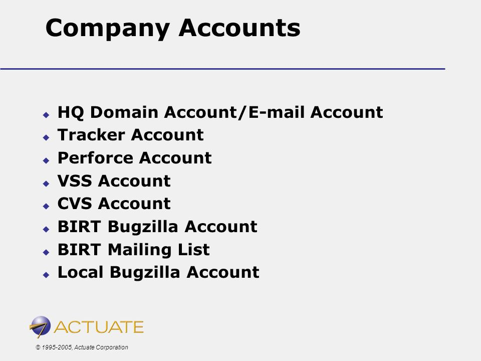 © 1995-2005, Actuate Corporation Company Accounts HQ Domain Account/E-mail Account Tracker Account Perforce Account VSS Account CVS Account BIRT Bugzi