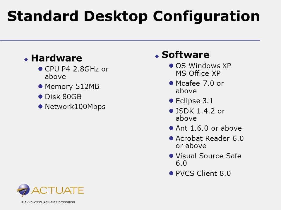 © 1995-2005, Actuate Corporation Standard Desktop Configuration Hardware CPU P4 2.8GHz or above Memory 512MB Disk 80GB Network100Mbps Software OS Wind