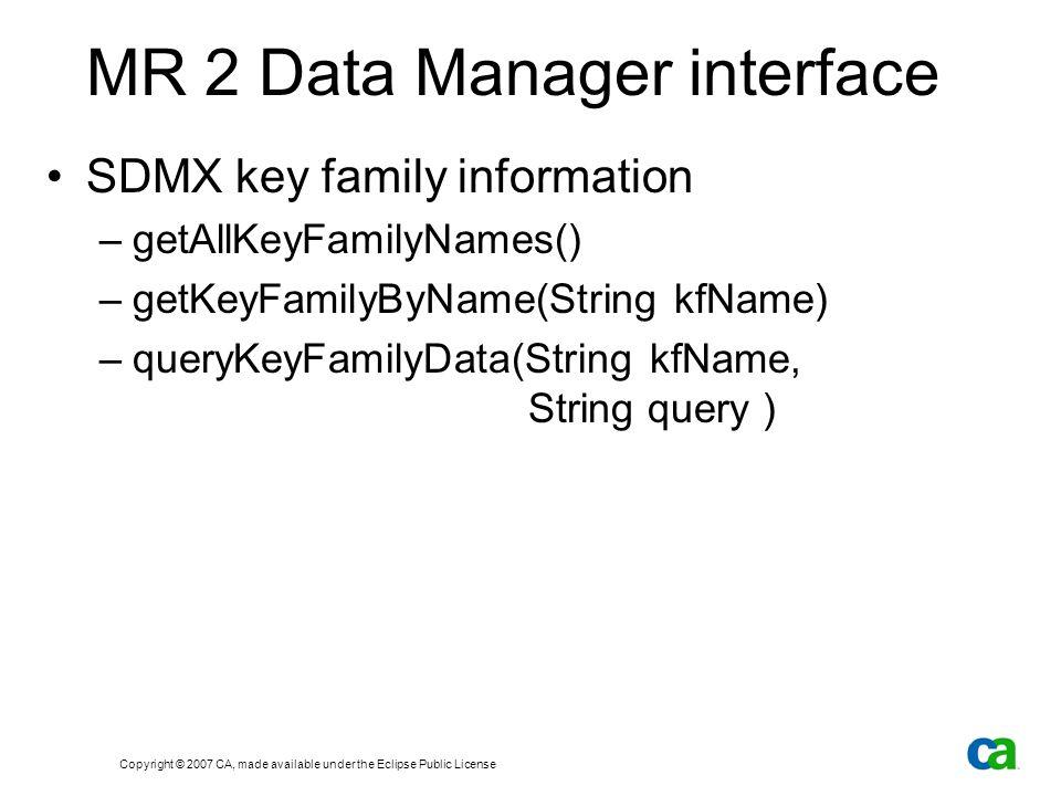 Copyright © 2007 CA, made available under the Eclipse Public License MR 2 Data Manager interface SDMX key family information –getAllKeyFamilyNames() –getKeyFamilyByName(String kfName) –queryKeyFamilyData(String kfName, String query )