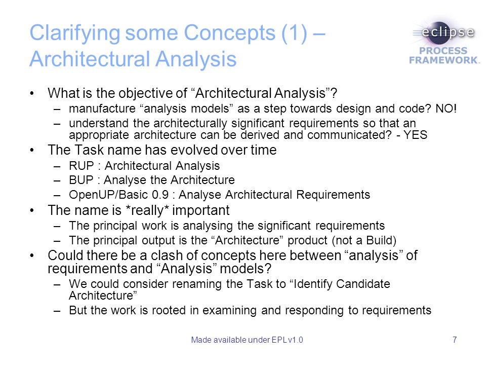 Made available under EPL v1.07 Clarifying some Concepts (1) – Architectural Analysis What is the objective of Architectural Analysis.