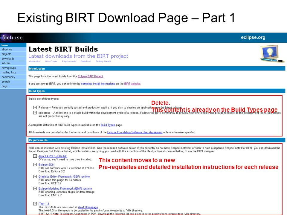 Existing BIRT Download Page – Part 1 This content moves to a new Pre-requisites and detailed installation instructions for each release Delete. This c