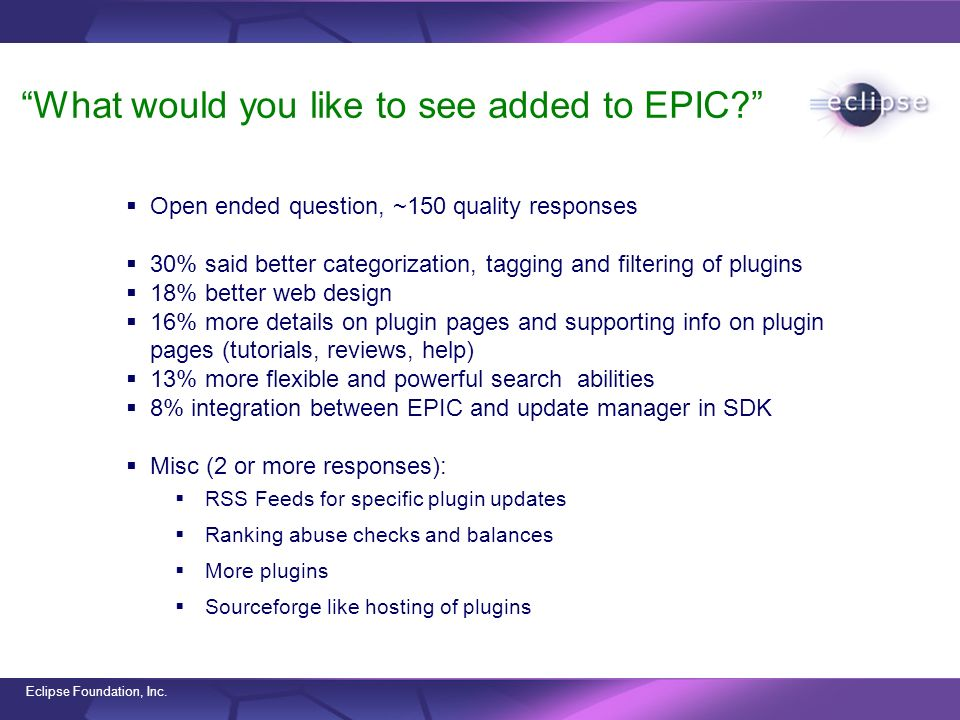 Eclipse Foundation, Inc. What would you like to see added to EPIC? Open ended question, ~150 quality responses 30% said better categorization, tagging