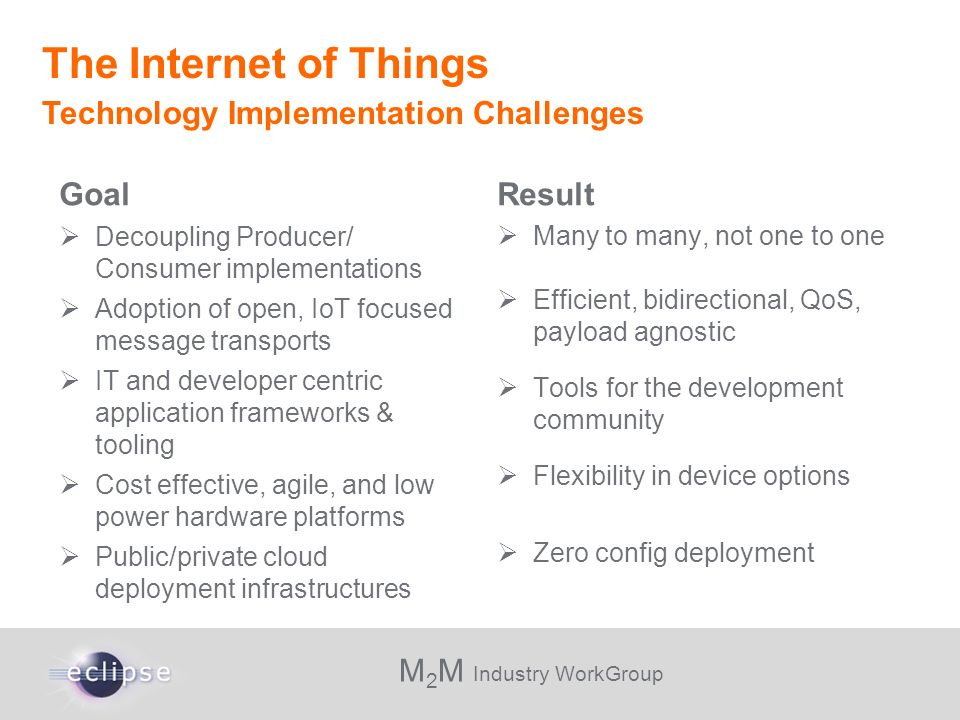 M 2 M Industry WorkGroup Goal Decoupling Producer/ Consumer implementations Adoption of open, IoT focused message transports IT and developer centric