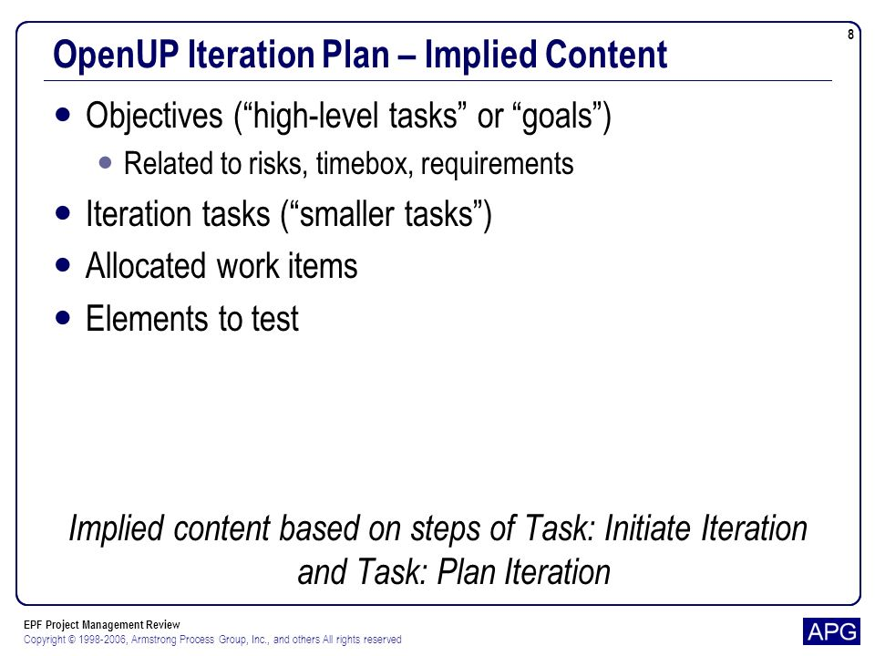 EPF Project Management Review Copyright © 1998-2006, Armstrong Process Group, Inc., and others All rights reserved 19 Scrum Sprint Backlog – Content Assigned To Description Estimated effort per week