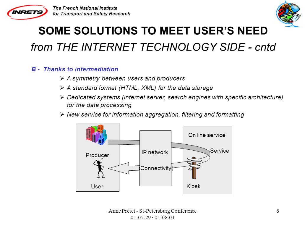The French National Institute for Transport and Safety Research Anne Prétet - St-Petersburg Conference 01.07.29 - 01.08.01 6 SOME SOLUTIONS TO MEET USERS NEED from THE INTERNET TECHNOLOGY SIDE - cntd B - Thanks to intermediation A symmetry between users and producers A standard format (HTML, XML) for the data storage Dedicated systems (internet server, search engines with specific architecture) for the data processing New service for information aggregation, filtering and formatting