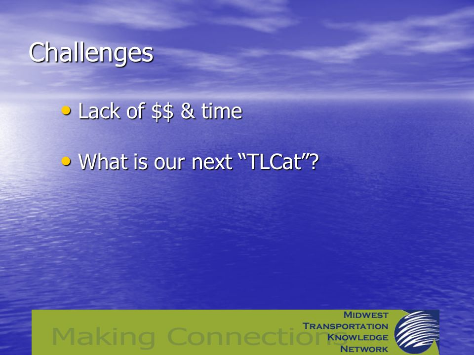 Challenges Lack of $$ & time Lack of $$ & time What is our next TLCat What is our next TLCat