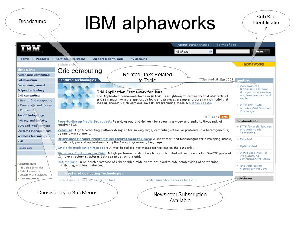 IBM alphaworks Sub Site Identificatio n Breadcrumb Consistency in Sub Menus Related Links Related to Topic Newsletter Subscription Available