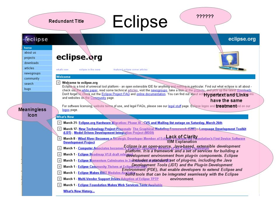 Eclipse Lack of Clarity IBM Explanation Eclipse is an open-source, Java-based, extensible development platform. It is a framework and a set of service