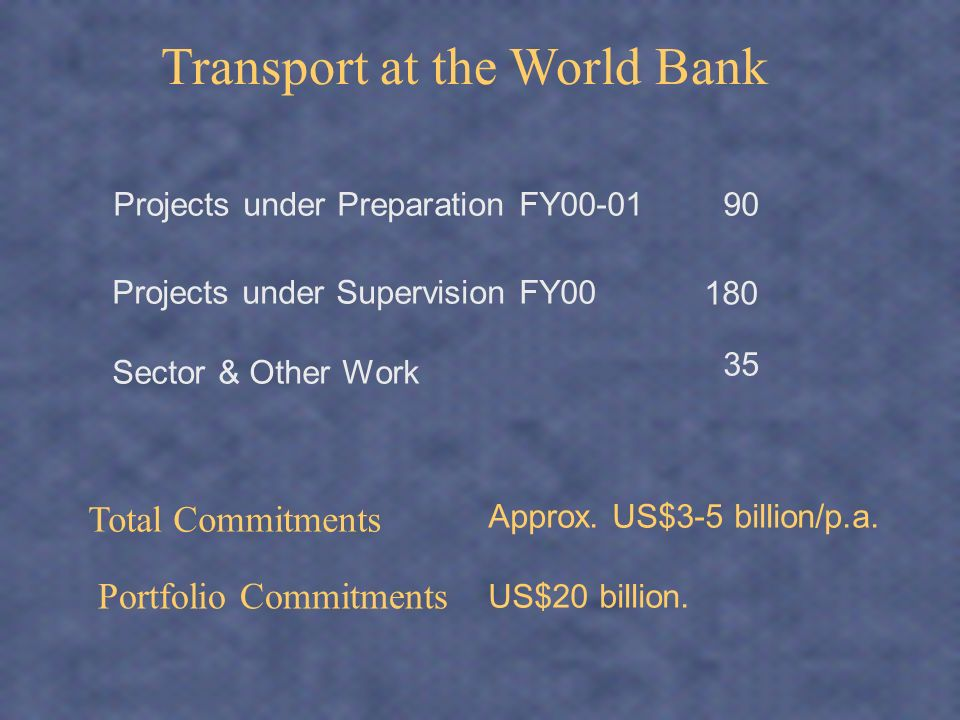 WB Knowledge: Mission and objectives improve the identification, design and implementation of donor-financed projects and programs facilitate the economic and social development of the World Banks developing and transition member countries, and generally promote sound transport policies worldwide
