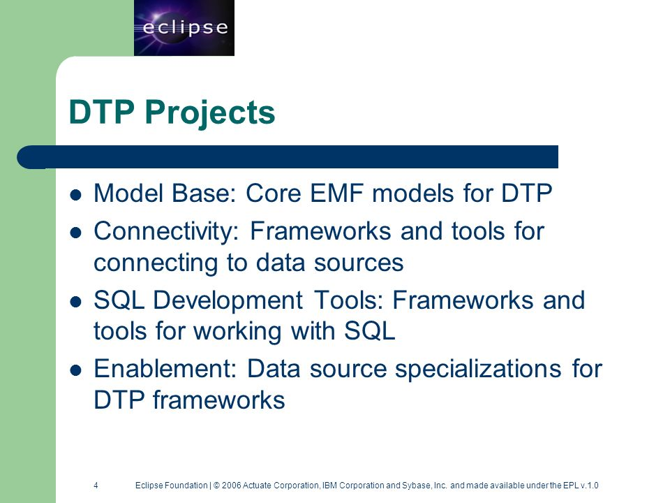 15 15 Eclipse Foundation | © 2006 Actuate Corporation, IBM Corporation and Sybase, Inc.