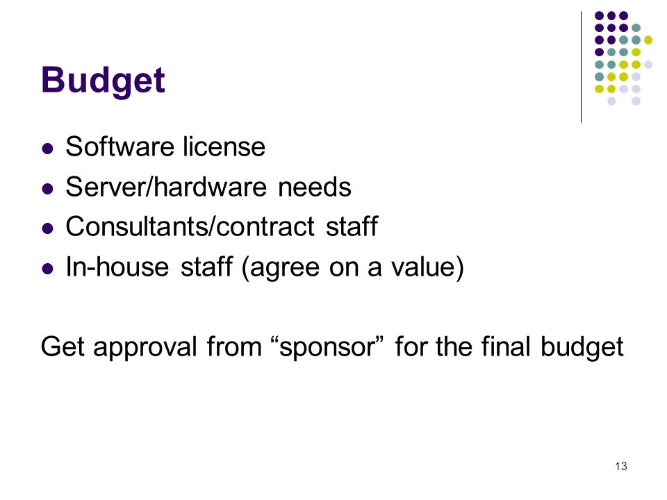 13 Budget Software license Server/hardware needs Consultants/contract staff In-house staff (agree on a value) Get approval from sponsor for the final budget