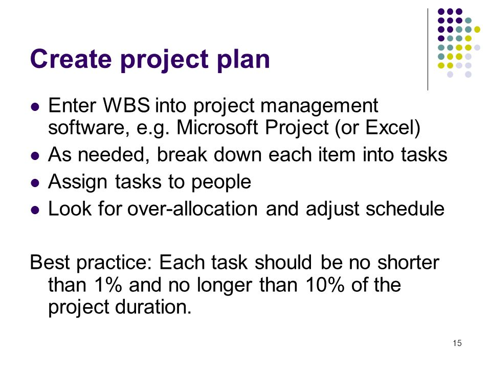 15 Create project plan Enter WBS into project management software, e.g.