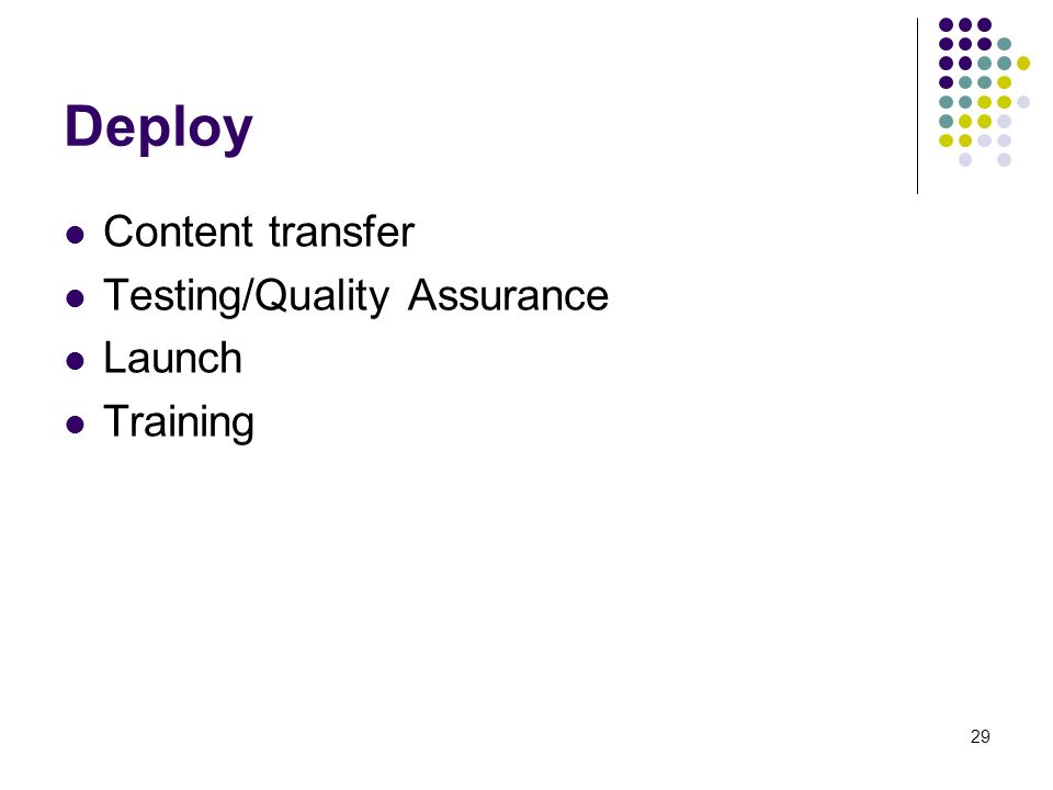 29 Deploy Content transfer Testing/Quality Assurance Launch Training