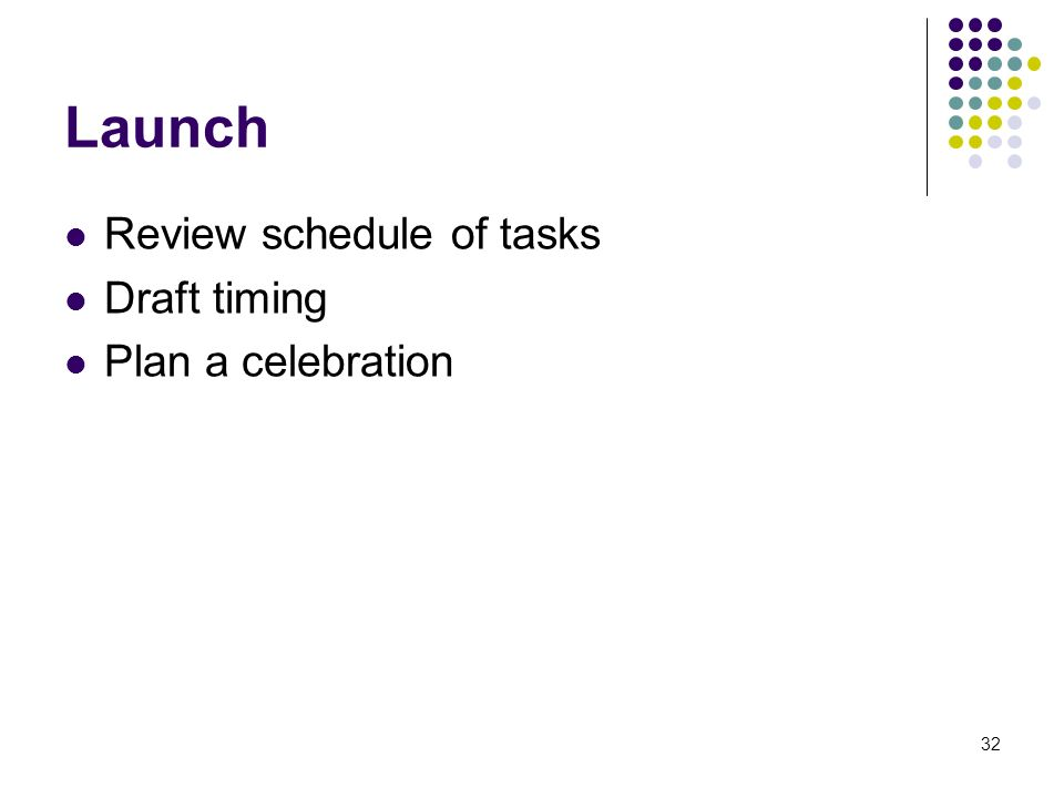 32 Launch Review schedule of tasks Draft timing Plan a celebration