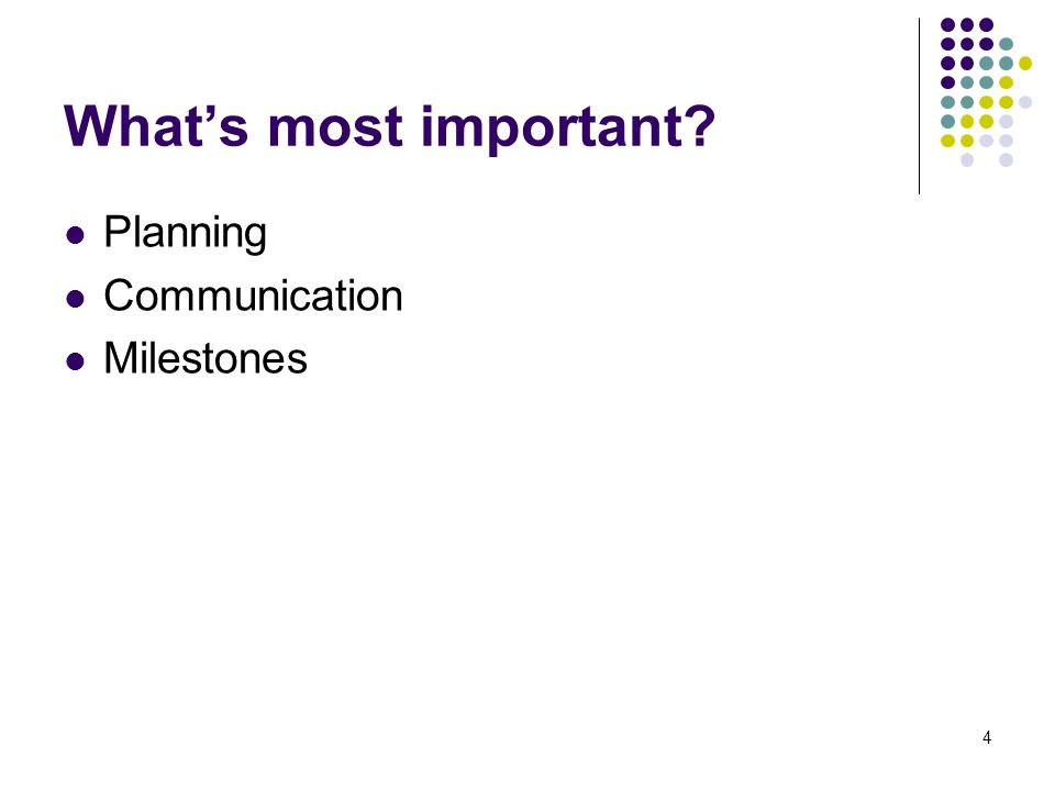 4 Whats most important Planning Communication Milestones