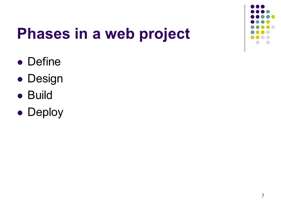 7 Phases in a web project Define Design Build Deploy