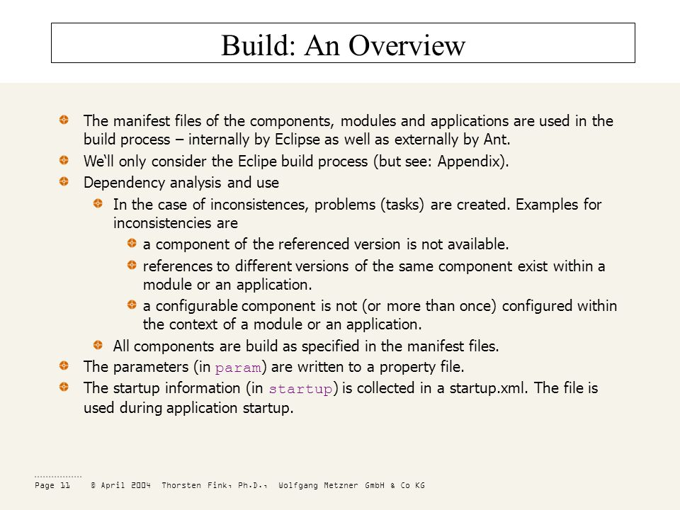 Page 11 © April 2004 Thorsten Fink, Ph.D., Wolfgang Metzner GmbH & Co KG Build: An Overview The manifest files of the components, modules and applications are used in the build process – internally by Eclipse as well as externally by Ant.