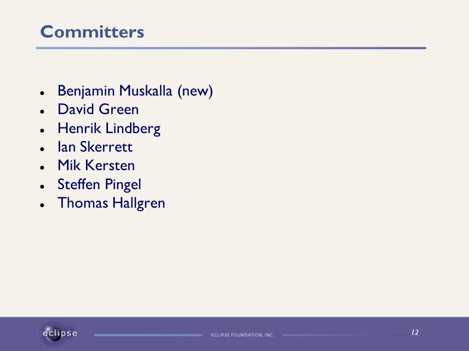 12 Committers Benjamin Muskalla (new) David Green Henrik Lindberg Ian Skerrett Mik Kersten Steffen Pingel Thomas Hallgren