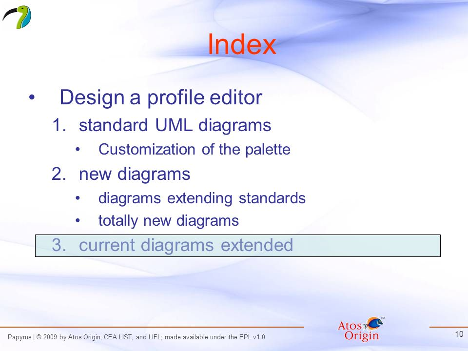 Papyrus | © 2009 by Atos Origin, CEA LIST, and LIFL; made available under the EPL v1.0 10 Index Design a profile editor 1.standard UML diagrams Customization of the palette 2.new diagrams diagrams extending standards totally new diagrams 3.current diagrams extended