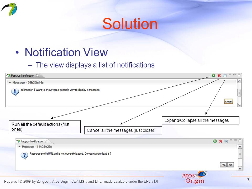 Papyrus | © 2009 by Zeligsoft, Atos Origin, CEA LIST, and LIFL; made available under the EPL v1.0 7 Solution Notification View –The view displays a list of notifications Run all the default actions (first ones) Cancel all the messages (just close) Expand/Collapse all the messages