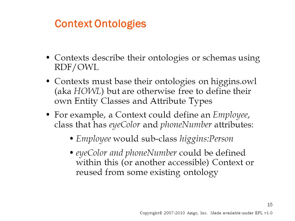15 Copyright© 2007-2010 Azigo, Inc. Made available under EPL v1.0 Context Ontologies Contexts describe their ontologies or schemas using RDF/OWL Conte