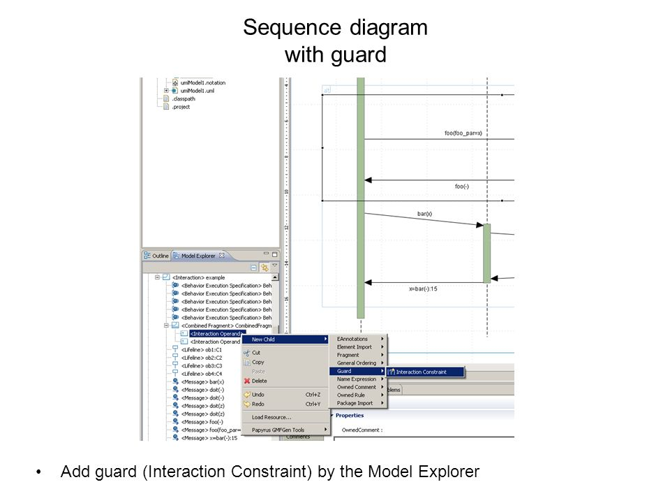 Sequence diagram with guard Add guard (Interaction Constraint) by the Model Explorer