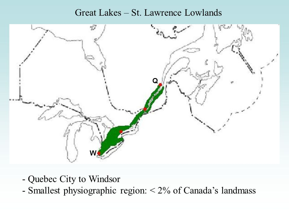 Great Lakes – St. Lawrence Lowlands - Quebec City to Windsor - Smallest physiographic region: < 2% of Canadas landmass Q W