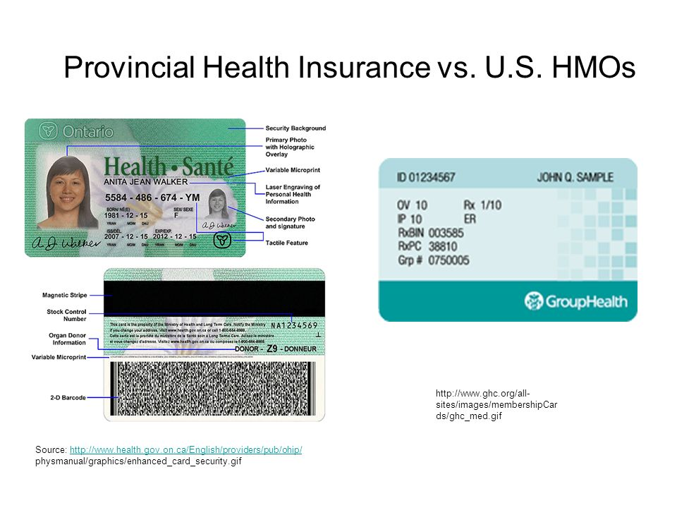 Source: http://www.health.gov.on.ca/English/providers/pub/ohip/http://www.health.gov.on.ca/English/providers/pub/ohip/ physmanual/graphics/enhanced_card_security.gif http://www.ghc.org/all- sites/images/membershipCar ds/ghc_med.gif Provincial Health Insurance vs.