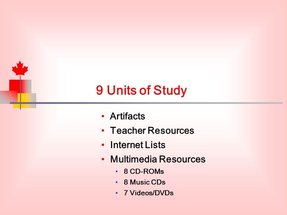 9 Units of Study Artifacts Teacher Resources Internet Lists Multimedia Resources 8 CD-ROMs 8 Music CDs 7 Videos/DVDs