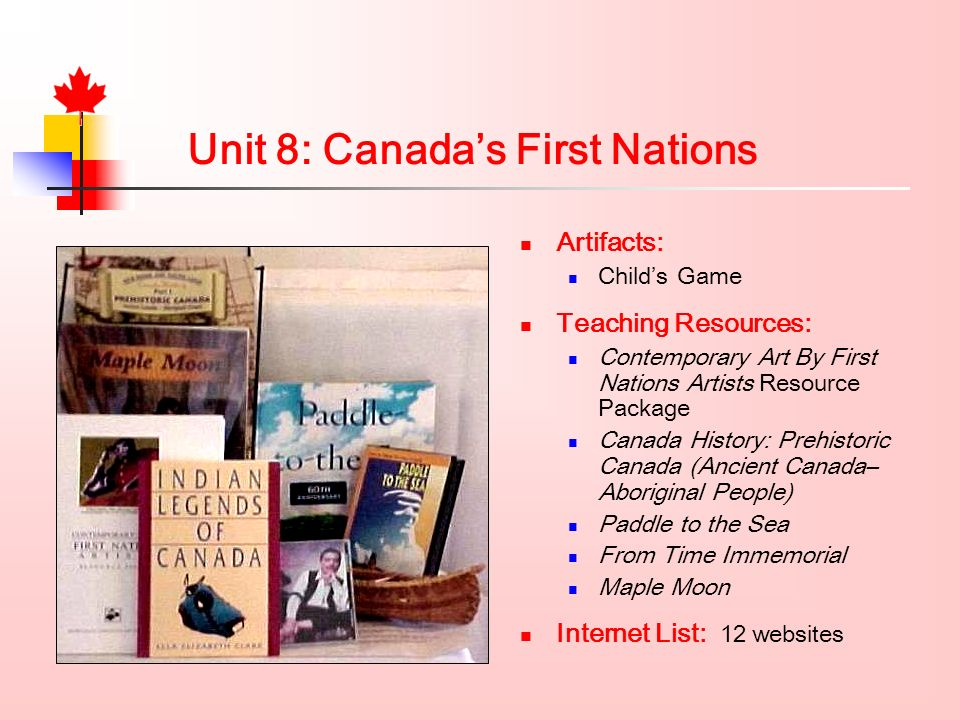 Artifacts: Childs Game Teaching Resources: Contemporary Art By First Nations Artists Resource Package Canada History: Prehistoric Canada (Ancient Canada– Aboriginal People) Paddle to the Sea From Time Immemorial Maple Moon Internet List: 12 websites Unit 8: Canadas First Nations