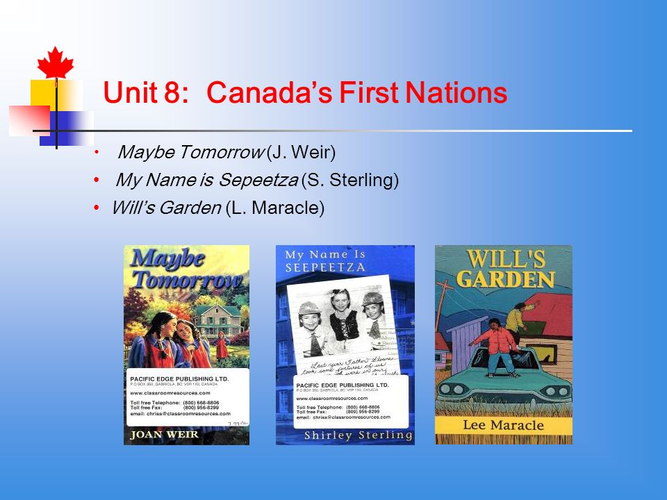 Unit 8: Canadas First Nations Maybe Tomorrow (J. Weir) My Name is Sepeetza (S.