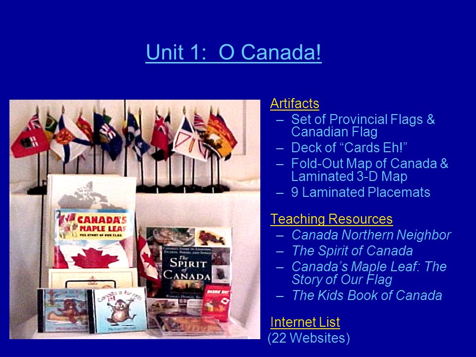 Unit 1: O Canada! Artifacts –Set of Provincial Flags & Canadian Flag –Deck of Cards Eh! –Fold-Out Map of Canada & Laminated 3-D Map –9 Laminated Place