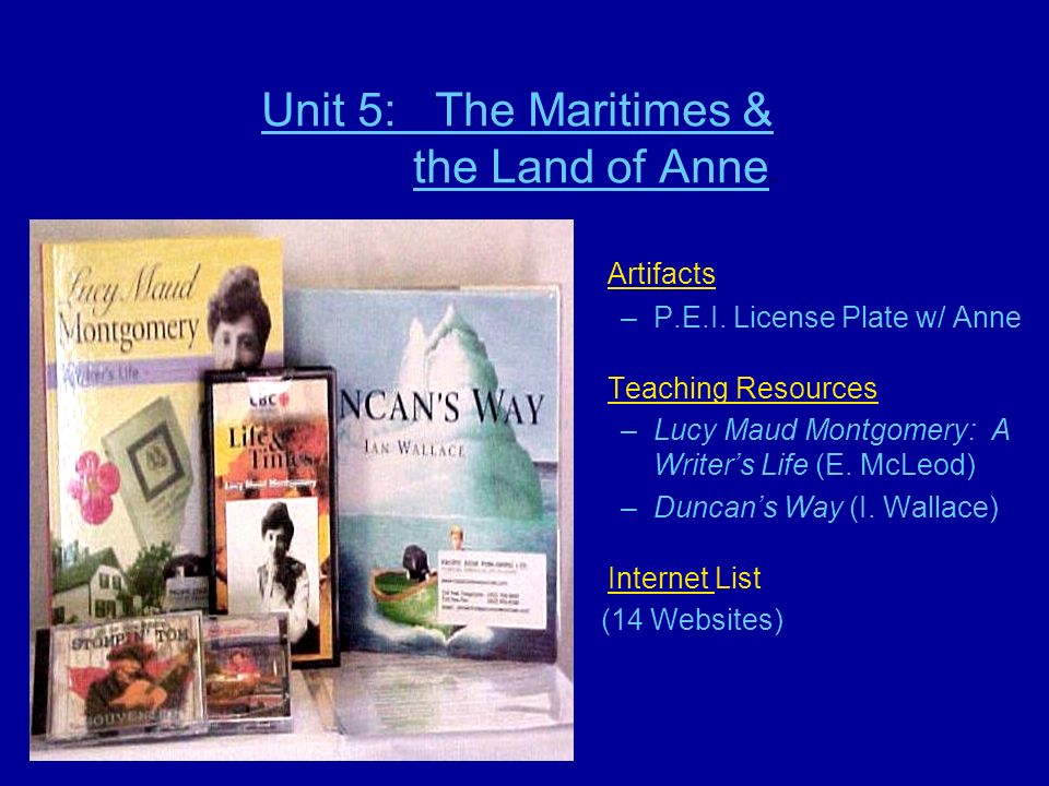 Unit 5: The Maritimes & the Land of Anne.Artifacts –P.E.I.