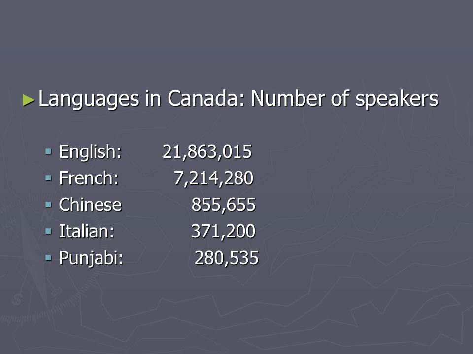 Languages in Canada: Number of speakers Languages in Canada: Number of speakers English: 21,863,015 English: 21,863,015 French: 7,214,280 French: 7,214,280 Chinese 855,655 Chinese 855,655 Italian: 371,200 Italian: 371,200 Punjabi: 280,535 Punjabi: 280,535