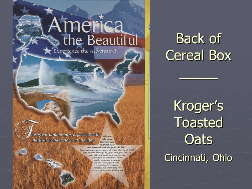 Back of Cereal Box _____ Krogers Toasted Oats Cincinnati, Ohio