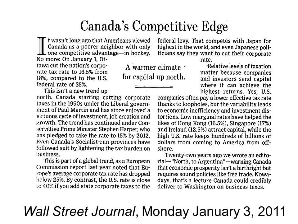Wall Street Journal, Monday January 3, 2011