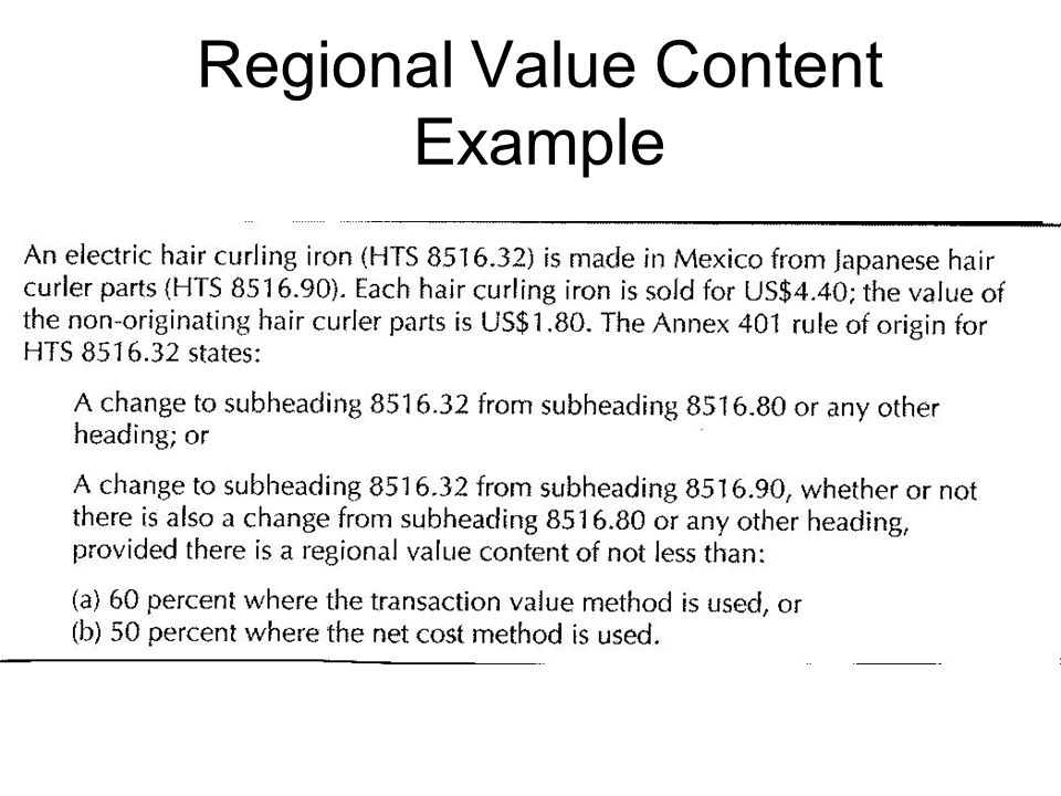 Regional Value Content Example
