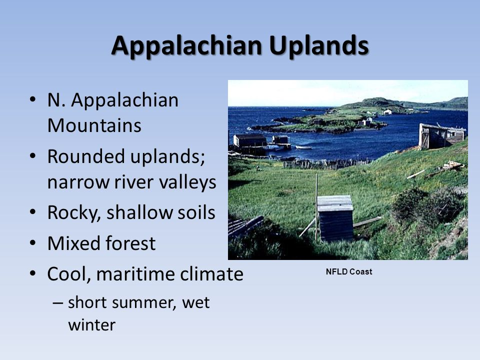Appalachian Uplands N. Appalachian Mountains Rounded uplands; narrow river valleys Rocky, shallow soils Mixed forest Cool, maritime climate – short su
