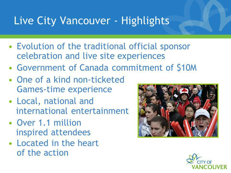 Live City Vancouver - Highlights Evolution of the traditional official sponsor celebration and live site experiences Government of Canada commitment o