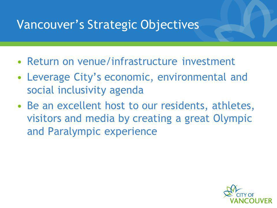 Vancouvers Strategic Objectives Return on venue/infrastructure investment Leverage Citys economic, environmental and social inclusivity agenda Be an excellent host to our residents, athletes, visitors and media by creating a great Olympic and Paralympic experience