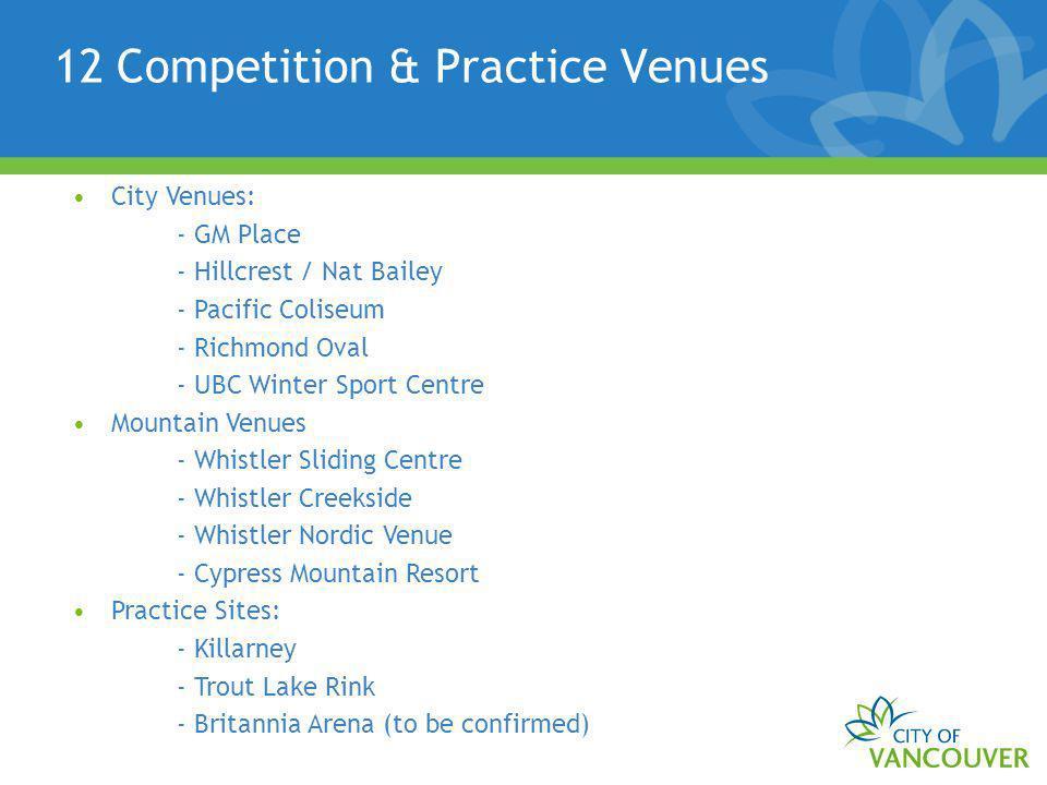 12 Competition & Practice Venues City Venues: - GM Place - Hillcrest / Nat Bailey - Pacific Coliseum - Richmond Oval - UBC Winter Sport Centre Mountai