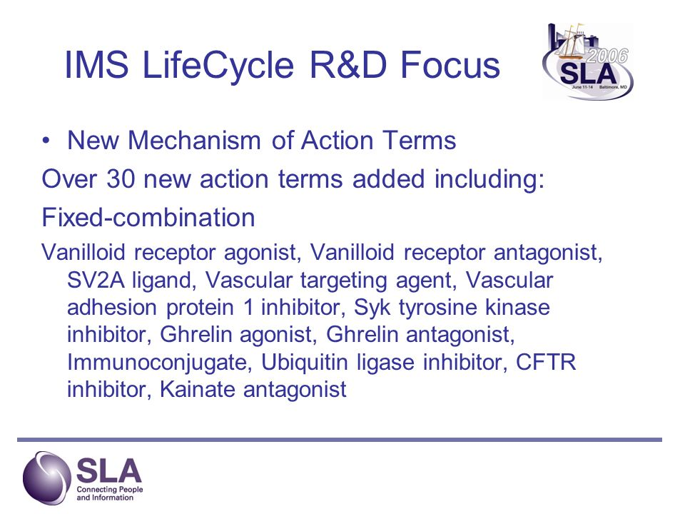 IMS LifeCycle R&D Focus New Mechanism of Action Terms Over 30 new action terms added including: Fixed-combination Vanilloid receptor agonist, Vanilloid receptor antagonist, SV2A ligand, Vascular targeting agent, Vascular adhesion protein 1 inhibitor, Syk tyrosine kinase inhibitor, Ghrelin agonist, Ghrelin antagonist, Immunoconjugate, Ubiquitin ligase inhibitor, CFTR inhibitor, Kainate antagonist