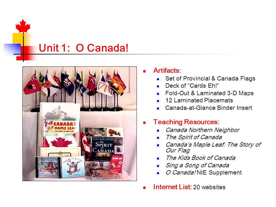 Unit 1: O Canada! Artifacts: Set of Provincial & Canada Flags Deck of Cards Eh! Fold-Out & Laminated 3-D Maps 12 Laminated Placemats Canada-at-Glance